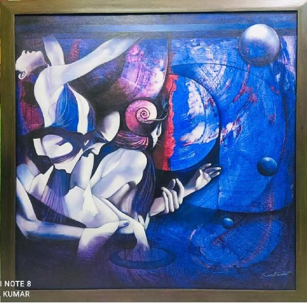 ACRYLIC ABSTRACT PAINTING (Colour my life(part -4) CODE -004