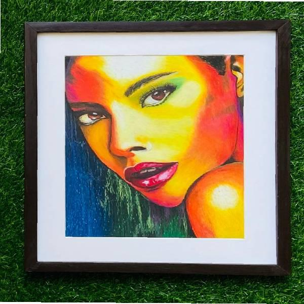 OIL PASTEL PORTRAIT PAINTING(SHADES OF PASSION ) code-04