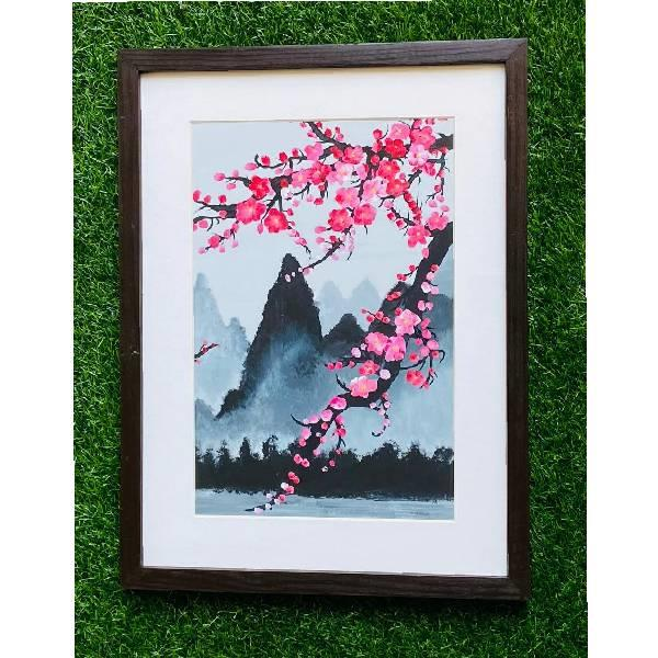 POSTER COLOUR PAINTING - LANDSCAPE (Beauty in Bloom) code - 012