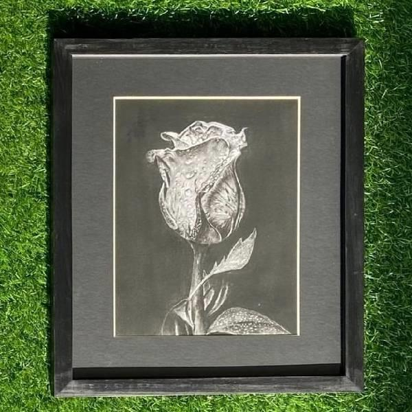 Charcoal painting still life (beauty in bloom)code -016