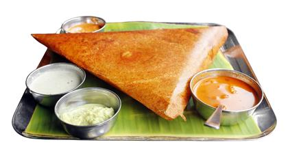 Dosa Plate with Samber Bowls