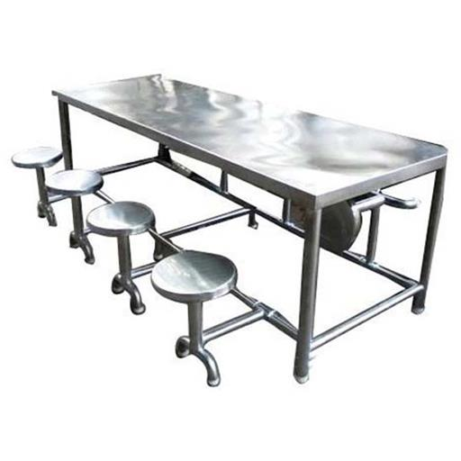 Silver Polished Stainless Steel Dining Table