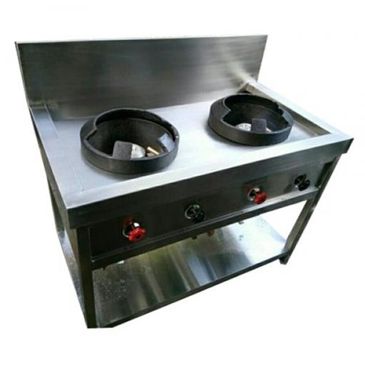 Silver Stainless Steel 2 Burner Chinese Range