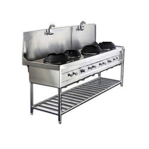 Three Burner Chinese Range With Stock Pot