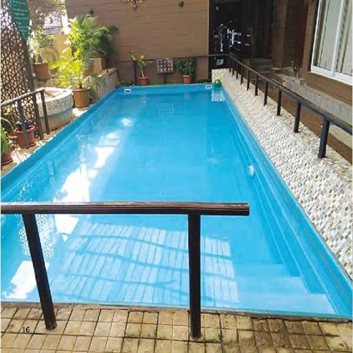 Rectangular swimming pools with water filtration system