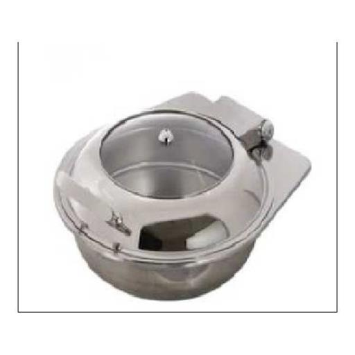 Round Chaffer with glass lid without frame