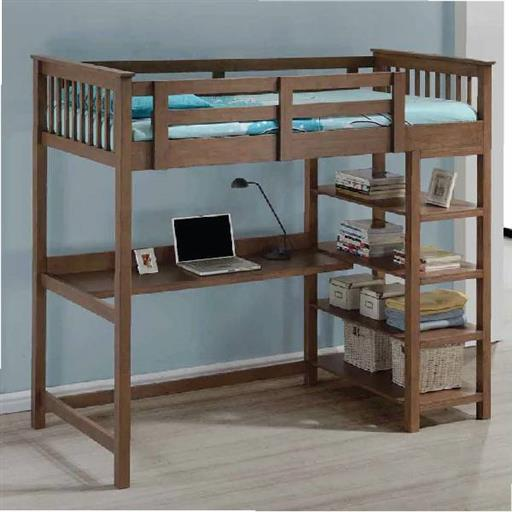 Wooden Bed With Study Table