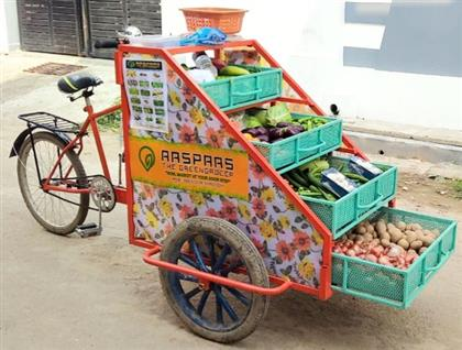 Modern Vegetables and Fruits Selling Cart.