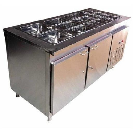 Stainless Steel Bain Marie With Under Counter Refrigerator For Commercial