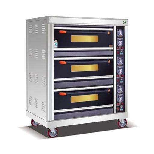300 W Stainless Steel 3 Deck 6 Trays Commercial Gas Bakery Oven