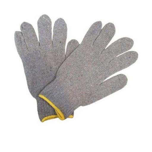 Grey Plain Cotton Knitted Hand Gloves