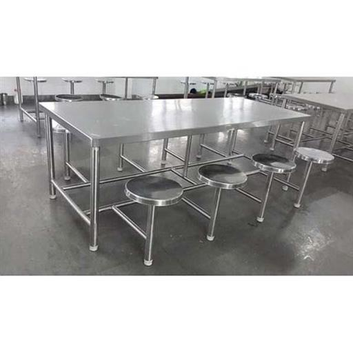 Silver Color SS Canteen Dining Table With 8 Stools