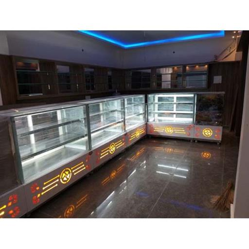 Stainless Steel 3 Shelves L Shape Display Counter