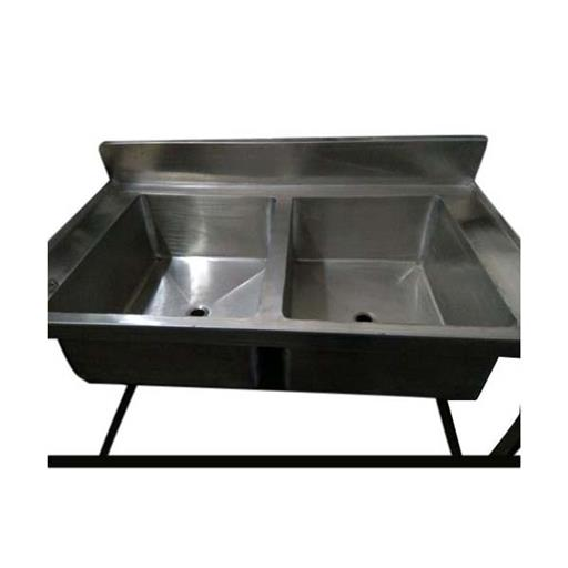 Stainless Steel Double Bowl Kitchen Sink, Size: 16 X 10 X 48 Inch