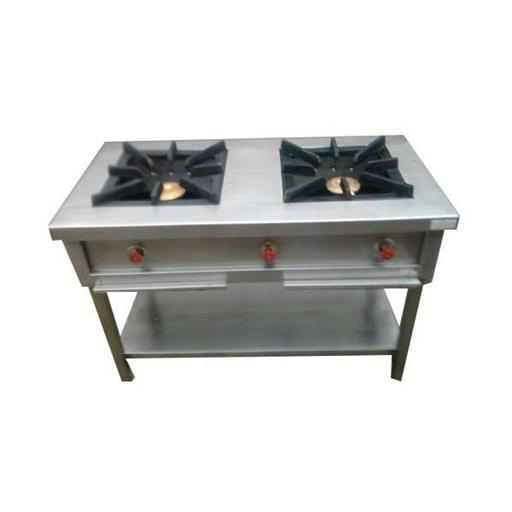 Stainless Steel Silver Commercial Two Burner Gas Stove, for Kitchen
