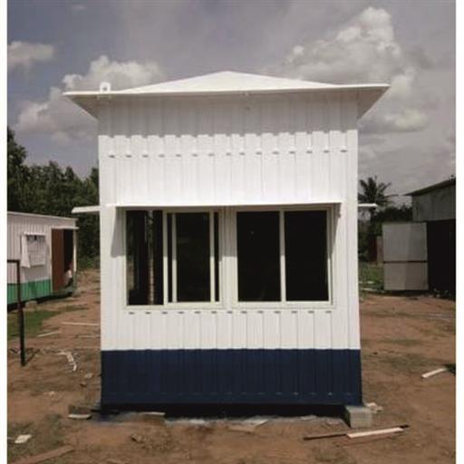 Steel White,Blue Portable Security Office Cabin, For Security Guard