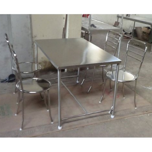 Silver Color SS 4 Seater Canteen Dining Table Set