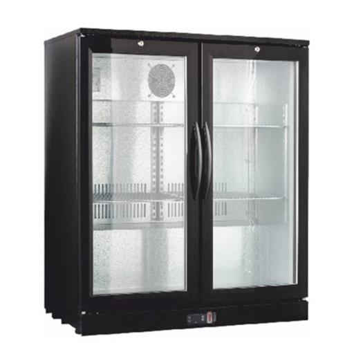 Ss,Glass Double Door Back Bar Bottle Cooler Counter