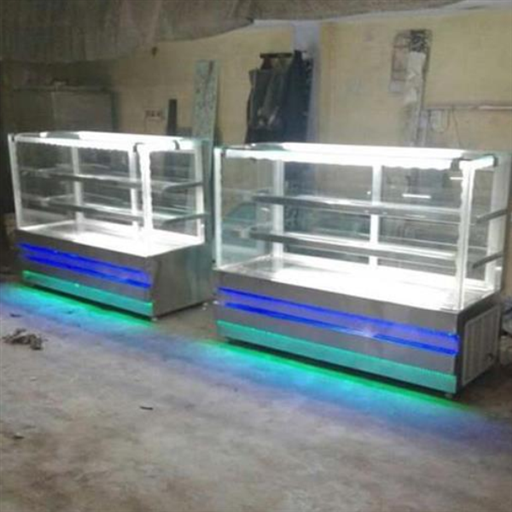 Glass 3 Shelves AC Display Flat Counter