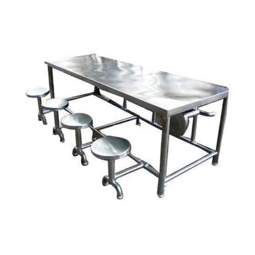 Stainless Steel 8 Seater Restaurant SS Dining Table Set